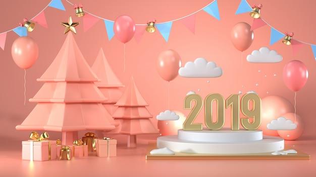 3d rendono della scena decorano l'albero di natale e il contenitore di regalo il giorno di natale 2019
