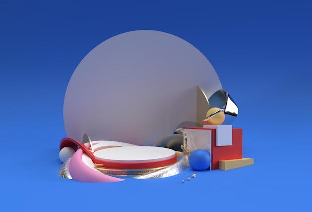 Scena di rendering 3d di una scena minima del podio per il design pubblicitario di prodotti display.