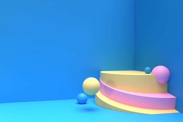 Scena di rendering 3d di una scena minima del podio per la pubblicità dei prodotti display