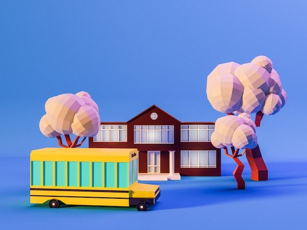 3d rendono dell'edificio scolastico, degli alberi e dello scuolabus su fondo blu nei colori al neon. torna al concetto di scuola