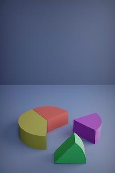 Rendering 3d, set di diversi grafici a torta
