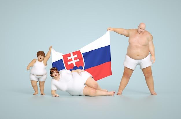 Rendering 3d concetto di obesità della slovacchia - famiglia grassa con bandiera
