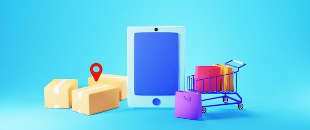 Rendering 3d di smartphone, scatole, borse della spesa su un carrello della spesa e icona della posizione su sfondo blu