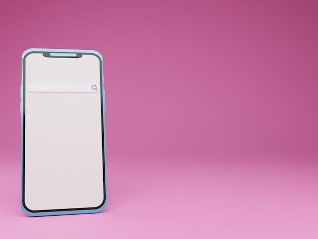 3d render smartphone con barra di ricerca su sfondo rosa