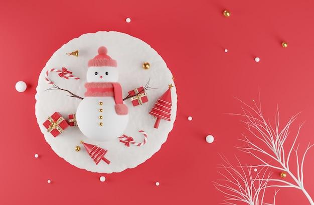 Rendering 3d di pupazzo di neve al giorno di natale con decorato Foto Premium