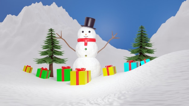 Rendering 3d pupazzo di neve e albero di natale