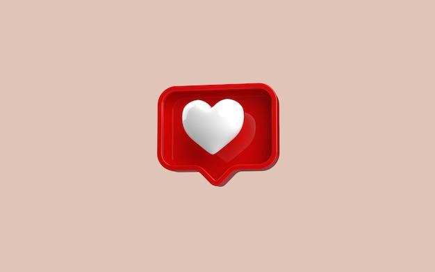 Rendering 3d del simbolo iconlike dei social media su pastello