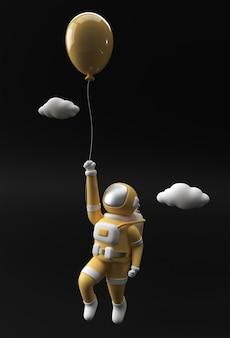 3d rendono l'astronauta dell'astronauta che galleggia con il disegno dell'illustrazione del pallone 3d.