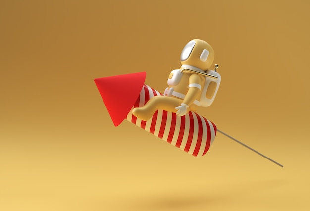 3d rendono l'astronauta dell'astronauta che vola con il disegno dell'illustrazione del razzo 3d.