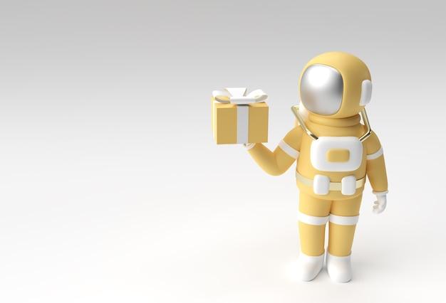 3d render spaceman astronauta mano che tiene la progettazione dell'illustrazione 3d di giftbox.