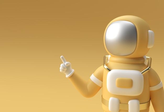 3d render spaceman astronauta mano che indica il gesto del dito 3d illustrazione design.