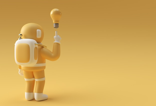 3d render spaceman astronauta mano puntare il dito idea luce lampadina gesto 3d illustrazione design.