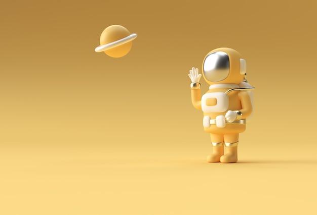 3d render spaceman astronauta hand up gesto 3d illustration design.