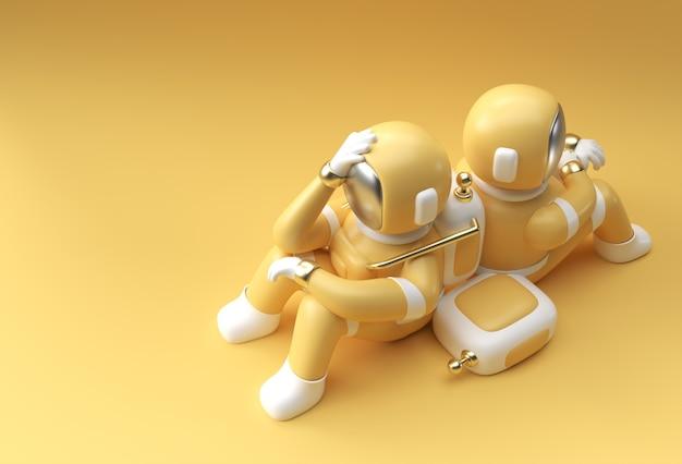 3d render spaceman astronauta mal di testa, delusione, caucasica stanco o disegno 3d dell'illustrazione del gesto di vergogna.