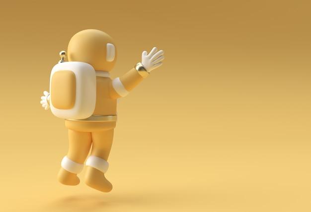 Rendering 3d l'astronauta dell'astronauta che salta la progettazione dell'illustrazione 3d.