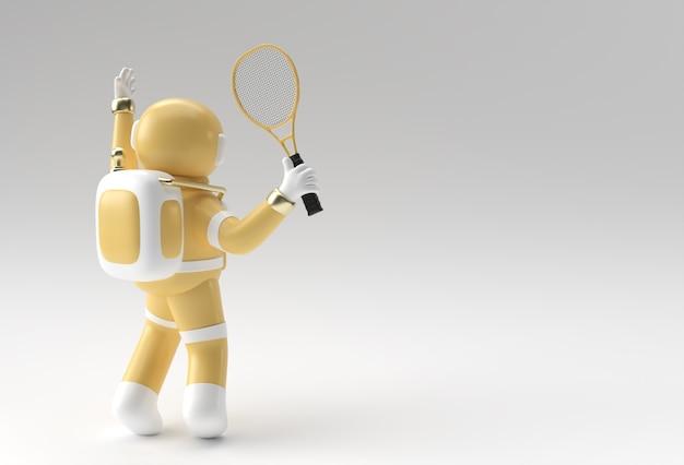 3d rendono l'astronauta dell'astronauta che gioca a tennis, progettazione dell'illustrazione 3d.