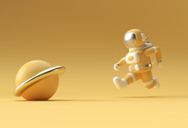 Rendering 3d astronauta dell'astronauta che esegue progettazione dell'illustrazione 3d.