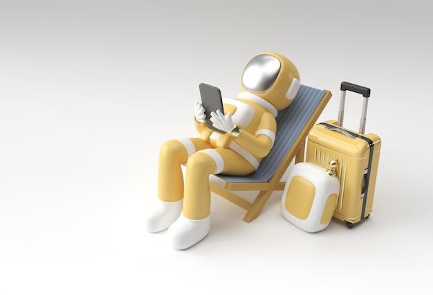 Rendering 3d astronauta dell'astronauta che si siede sulla sedia facendo uso del telefono con progettazione dell'illustrazione 3d della valigia di viaggio.