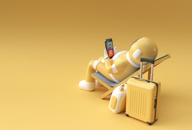 Rendering 3d astronauta dell'astronauta che si siede sulla sedia facendo uso del telefono con la progettazione dell'illustrazione 3d della valigia di viaggio.
