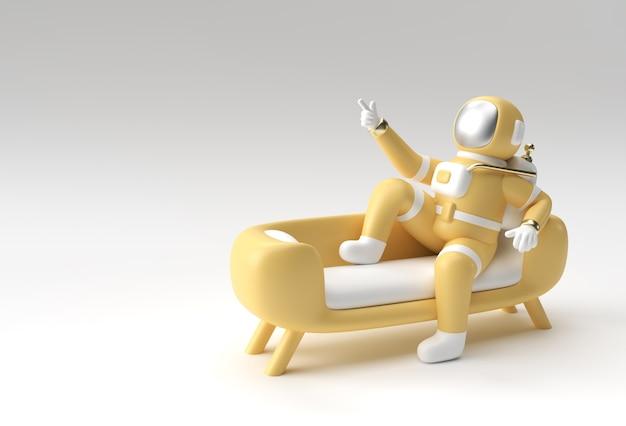 3d render spaceman astronauta seduto sul divano con flying rocket 3d illustrazione design.
