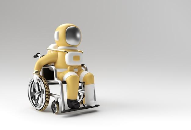 Rendering 3d astronauta dell'astronauta che si siede sulla progettazione dell'illustrazione 3d della sedia a rotelle.