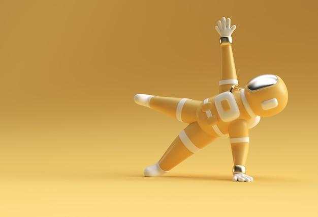 3d render spaceman astronauta in piedi una mano yoga posa 3d illustrazione design.