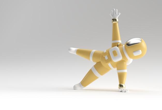 3d render spaceman astronauta in piedi una mano yoga posa 3d illustrazione design. Foto Premium