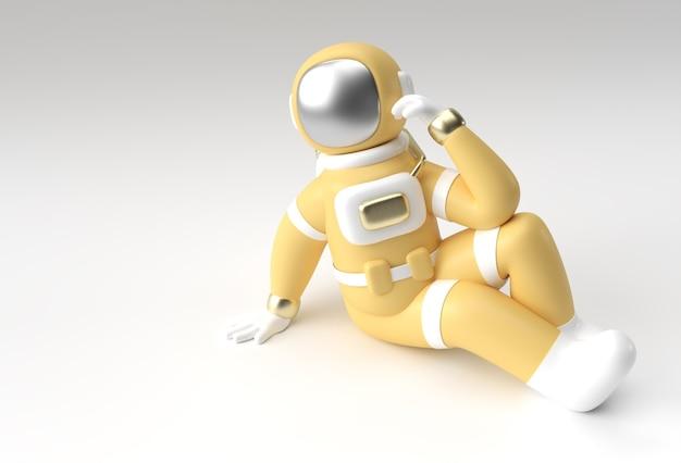 3d render spaceman l'astronauta pensa, delusione, il disegno 3d dell'illustrazione del gesto caucasico stanco.