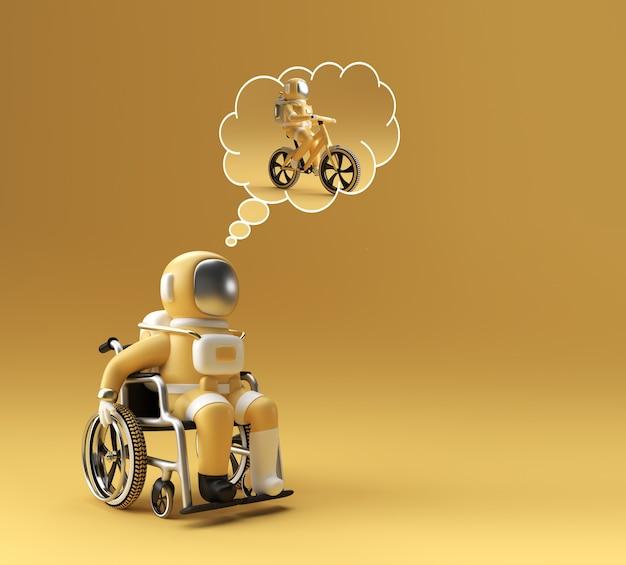 3d render spaceman l'astronauta sulla sedia a rotelle pensa di correre sul tapis roulant 3d illustration design.