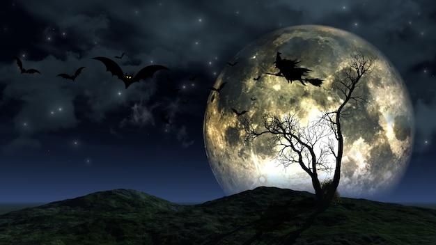 Rendering 3d di uno sfondo spettrale di halloween