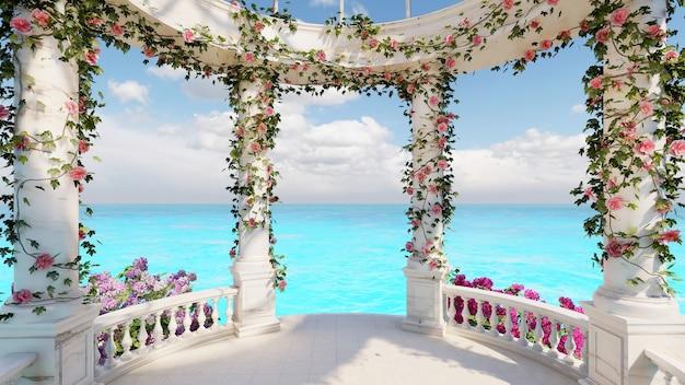 Padiglione di marmo di pietra di rendering 3d con decorazione di fiori con sfondo marino