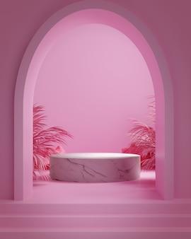 3d render pietra, foglia di palma e sfondo rosa, gemotric di colore rosa con podio in marmo, display o vetrina.