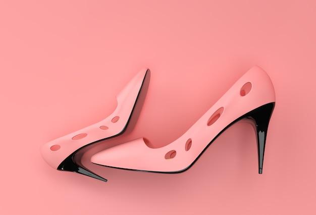 3d render scarpe da donna classiche alla moda in alte colline su uno sfondo colorato. Foto Premium