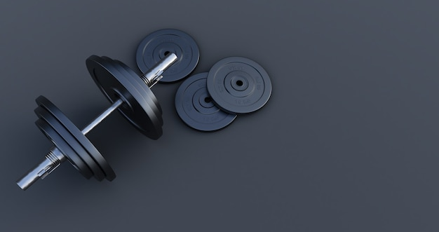 Rendering 3d di elegante bilanciere di ferro, manubrio isolato su sfondo nero. alta risoluzione, attrezzatura da palestra,