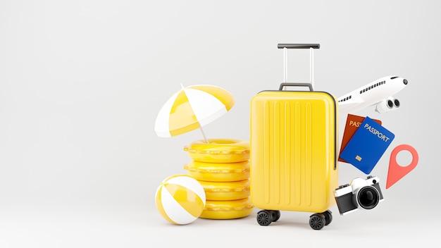 Rendering 3d della valigia con il concetto di turismo estivo per l'esposizione del prodotto