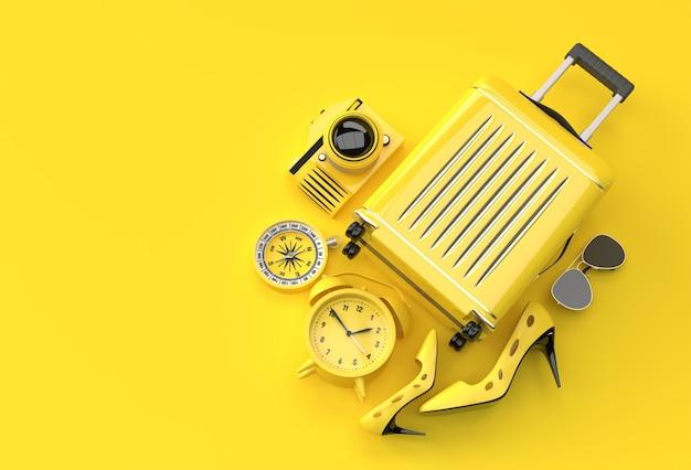 3d render valigia con accessori per viaggiatori su sfondo giallo. progettazione dell'illustrazione di concetto di viaggio.