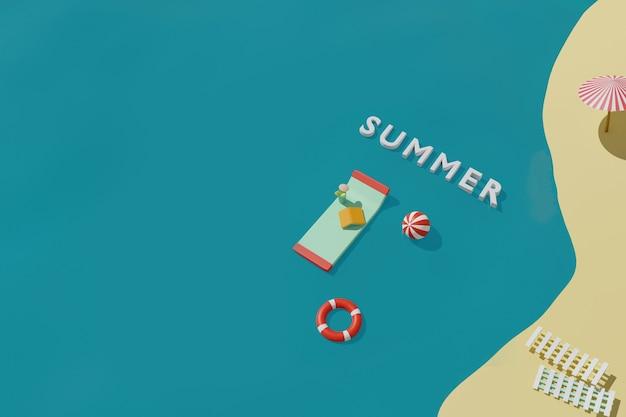 Rendering 3d della spiaggia estiva con materasso gonfiabile per nuotare, libro, palla e salvagente in mare. concetto di vacanza di viaggio estivo