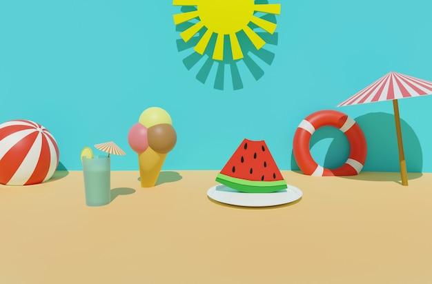 Rendering 3d della spiaggia di sabbia estiva con sole, salvagente, palla, gelato, bevanda fredda, ombrellone e anguria. vacanze estive, concetto di cibo e bevande estivi