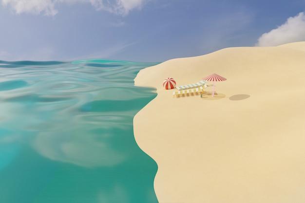 Rendering 3d della spiaggia di sabbia estiva con due sedie a sdraio vuote, ombrellone e palla vicino alle onde del mare sotto il cielo sereno. concetto di vacanza di viaggio estivo