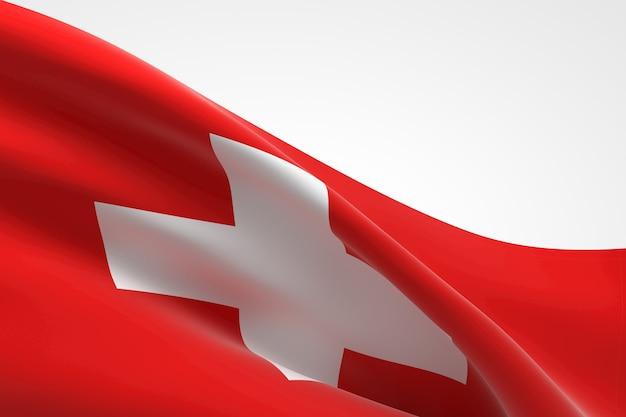 Rendering 3d dell'ondeggiamento della bandiera svizzera.