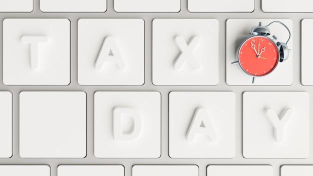 Rendering 3d di giorno fiscale sulla tastiera con allarme rosso