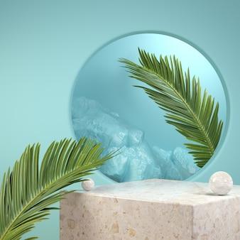 Rendering 3d podio di pietra modello con foglia di palma su sfondo blu illustrazione