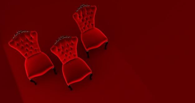 Rendering 3d di tre (3) sedie rosse re isolato su sfondo rosso, concetto vip