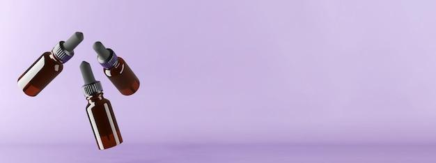 Rendering 3d di tre bottiglie di vetro ambra volanti per oli. . illustrazione 3d di alta qualità