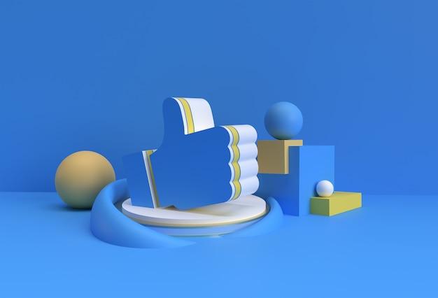 3d render thumbs up (mi piace) visualizza la pubblicità dei prodotti. progettazione dell'illustrazione del manifesto del volantino.