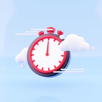 Timer di rendering 3d con nuvola su sfondo blu. cronometro, timer 3d renderin icona e illustrazione.