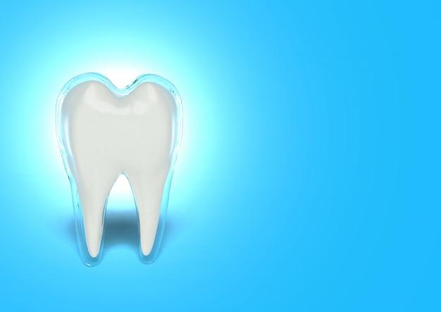 3d rendono il concetto di sbiancamento dei denti, denti che imbiancano