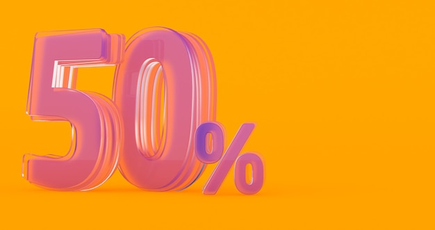 Rendering 3d di segno di percentuale di vetro trasparente cinquanta per cento 50%, 50% di vetro cinquanta per cento su uno sfondo colorato.