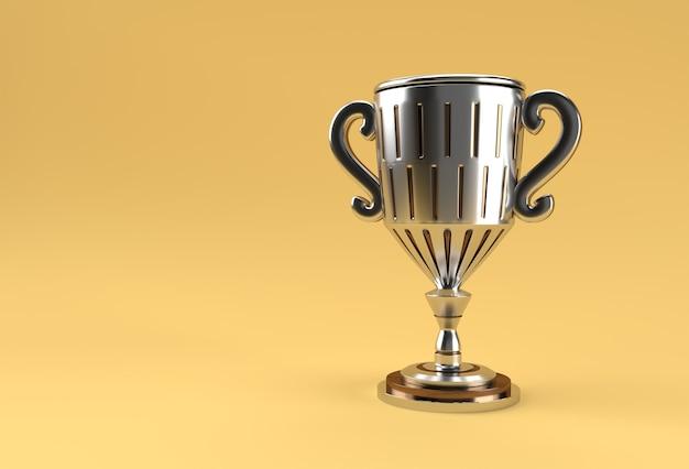 3d render coppa trofeo isolata su sfondo colorato.