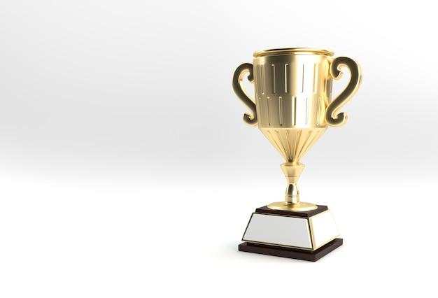 Render 3d trophy cup isolato su sfondo colorato.
